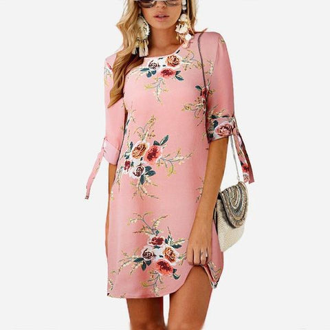 New Party Beach Dress Tunic Vestidos Boho Style Summer Dress Pink color
