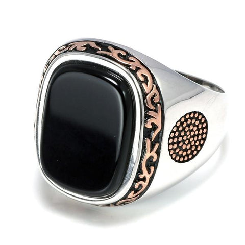 New Real Silver S925 Retro Vintage Natural Black Onyx Stone Turkish Ring from Almas Collections