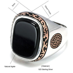 Real Silver S925 Retro Vintage Natural Black Onyx Stone Turkish Ring size from Almas Collections