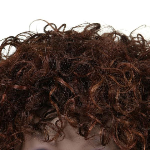 New Short Hair Brazilian Afro Kinky Curly Wigs close up (Real Human Hair) from Almas Collections