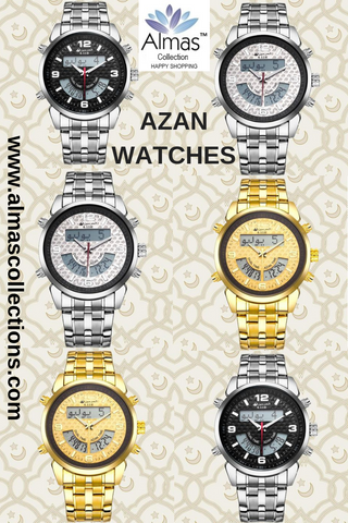 New Almas Collections Stainless Steel Dual Time Azan Watch