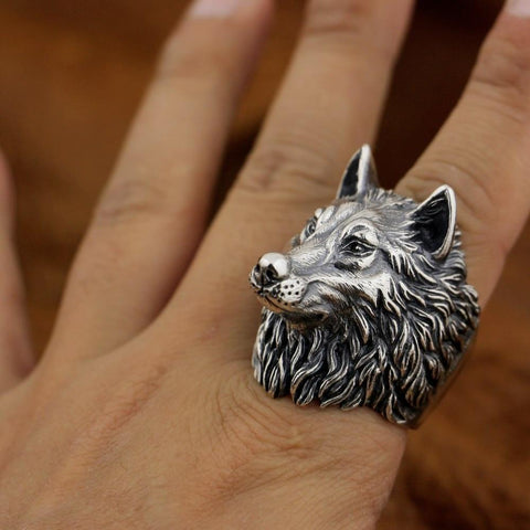New Wolf 925 Sterling Silver Model wearing view from Almas Collections
