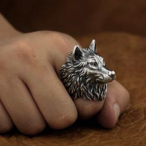 New Wolf 925 Sterling Silver Model wearing view from Almas Collections2