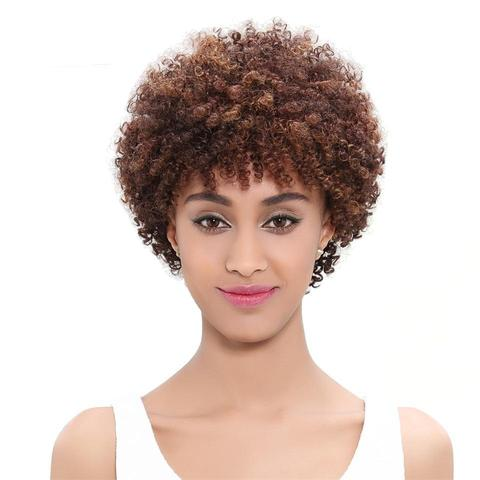 New Short Hair Brazilian Afro Kinky Curly Wigs (Real Human Hair) from Almas Collections