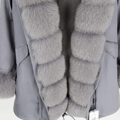 Parka Natural Real Fox Fur Coats  close up front view from Almas Collections