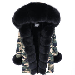 Parka Natural Real Fox Fur Coat in camo with black from Almas Collections