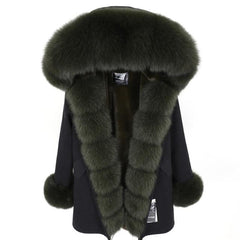 Parka Natural Real Fox Fur Coats in black color from Almas Collections