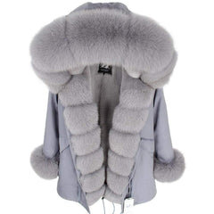Parka Natural Real Fox Fur Coats in gray color from Almas Collections