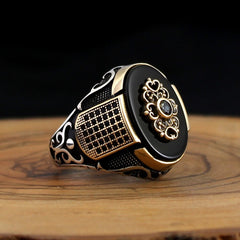 Turkish 925 Silver Black Onyx Aqeeq Stone Ring from Almas Collections