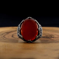 Turkish 925 Silver Ring Maroon Aqeeq (Agate) Stones from Almas Collections