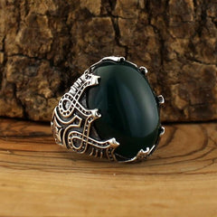 Turkish 925 Silver Ring Green Aqeeq (Agate) Stones from Almas Collections