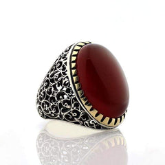 Turkish 925 Silver Ring with Red Aqeeq (Agate) Stone. Handcrafted Rings from Almas Collections