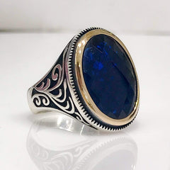Turkish Parliament Blue Oval Cut Sapphire (Gemstone) Ring from Almas Collections