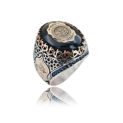 Turkish Silver Black Stone Ring from Almas Collections