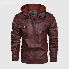 Vintage Biker Hooded Leather Jacket Red Wine color by Almas Collections