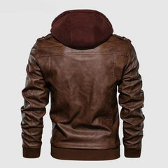 Vintage Biker Hooded Leather Back View by Almas Collections