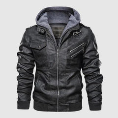 Vintage Biker Hooded Leather Jacket Black color by Almas Collections