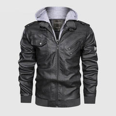 Vintage Biker Hooded Leather Jacket black Grey color by Almas Collections