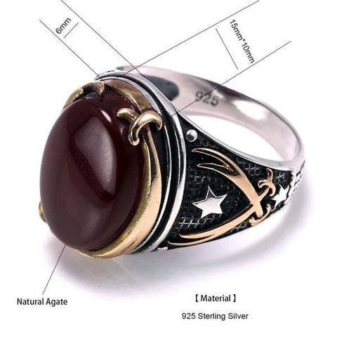 Vintage Turkish Natural Onyx Tiger Eye in S925 Sterling Silver Rings in Size form Almas Collections
