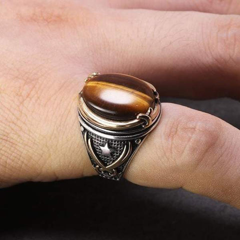 Vintage Turkish Natural Onyx Tiger Eye in S925 Sterling Silver Rings in Brown colour on Model Hand form Almas Collections