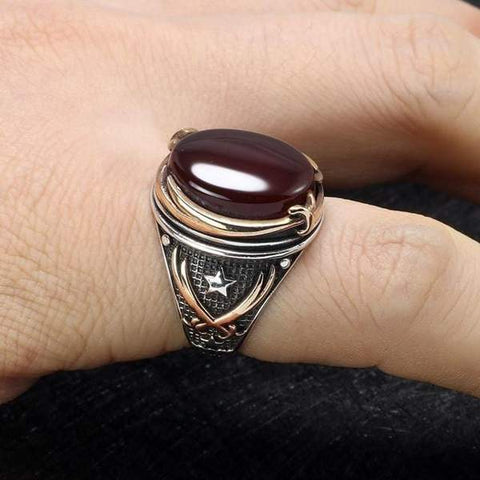 Vintage Turkish Natural Onyx Tiger Eye in S925 Sterling Silver Rings in Red colour on Model Hand form Almas Collections