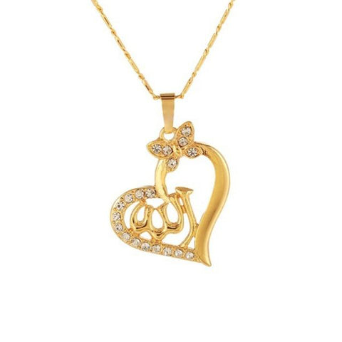 Allah Gold Heart color necklace from Almas Collections