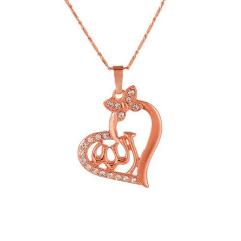Allah Rose Gold Heart color necklace from Almas Collections