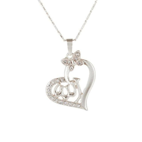 Allah Silver Heart color necklace from Almas Collections