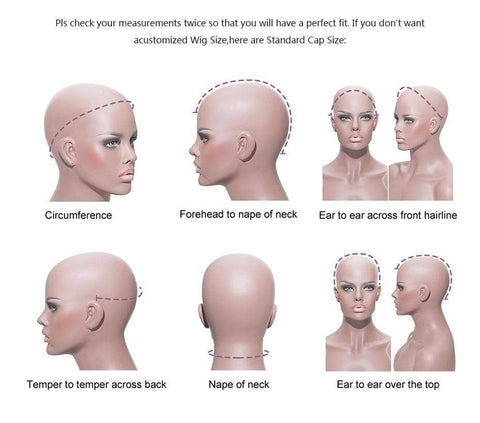 How to measure head for wig cap size from Almas Collections