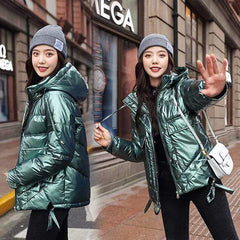 Winter Short Parkas Jackets in Green from Almas Collections