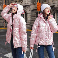 Winter Short Parkas Jackets in Pink from Almas Collections