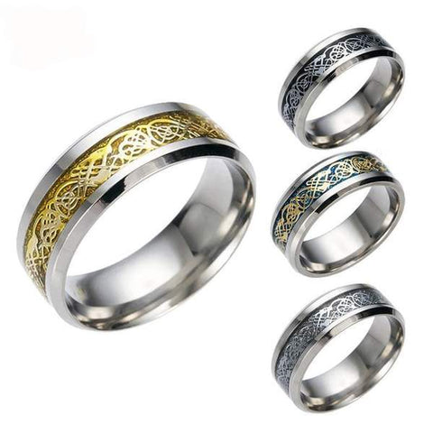 4 COLORS Vintage Gold stainless steel Ring Men
