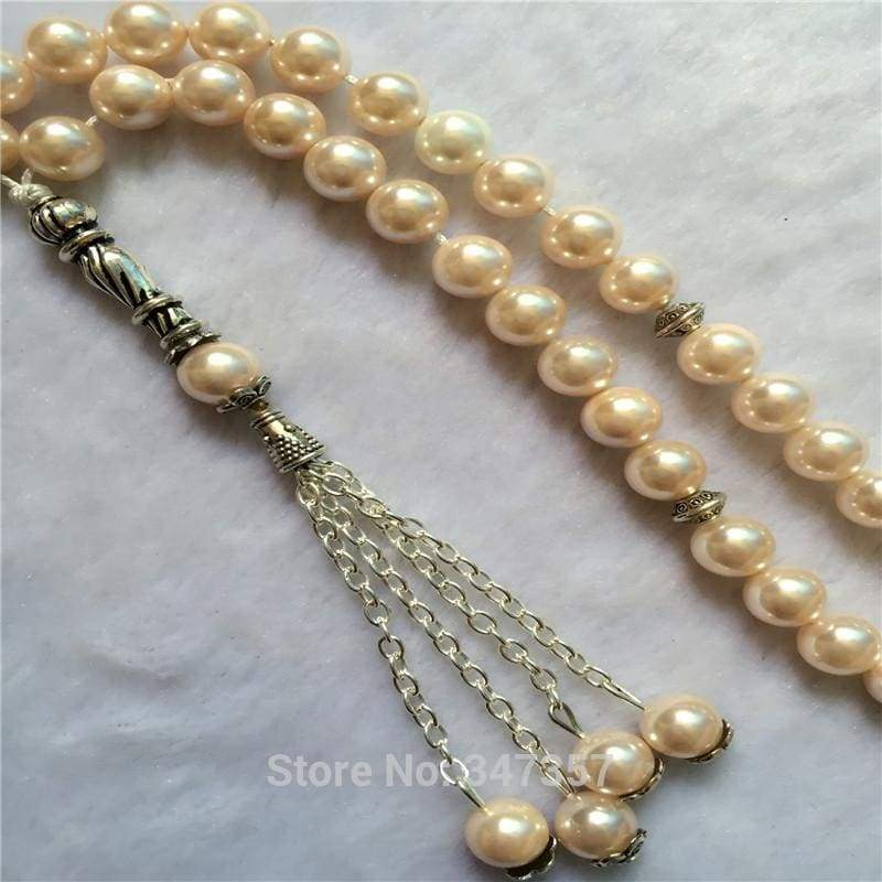 8mm Light Pink  Color Pearl Shell Tridacna Stone Round Shape 33 Tasbeeh IS1 - Almas Collections
