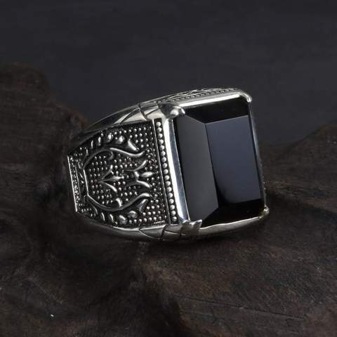 Image of Real 925 Sterling Silver Black Obsidian Natural Stone Rings For Men  NS3 IS1 IS2 VAL1 Almas Collections  men ring