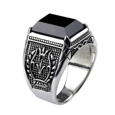 Real 925 Sterling Silver Black Obsidian Natural Stone Rings For Men  from Almas Collections