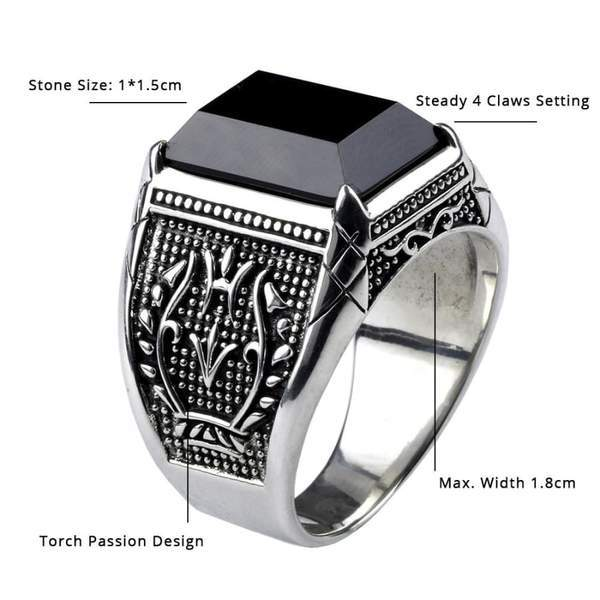 Real 925 Sterling Silver Black Obsidian Natural Stone Rings For Men  NS3 IS1 IS2 VAL1 Almas Collections  men ring