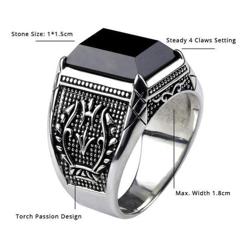 Real 925 Sterling Silver Black Obsidian Natural Stone Rings For Men  size from Almas Collections