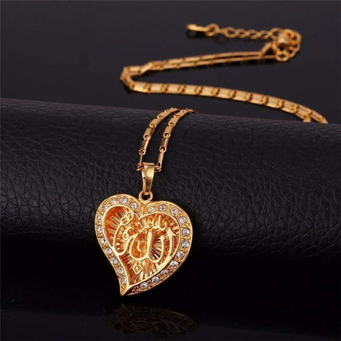 Image of Allah Heart Necklaces & Pendants Silver/Gold Color Rhinestone IS1 IS2 Almas Collections Necklace