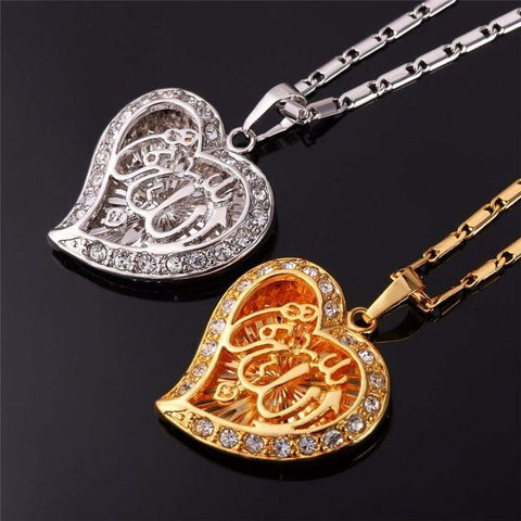 Allah Heart Necklaces & Pendants Silver/Gold Color Rhinestone IS1 | Almas Collections |