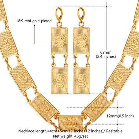Image of Allah Necklace Drop Earrings For Women Gold/Silver Color Jewellery set IS1 IS2 Almas Collections set