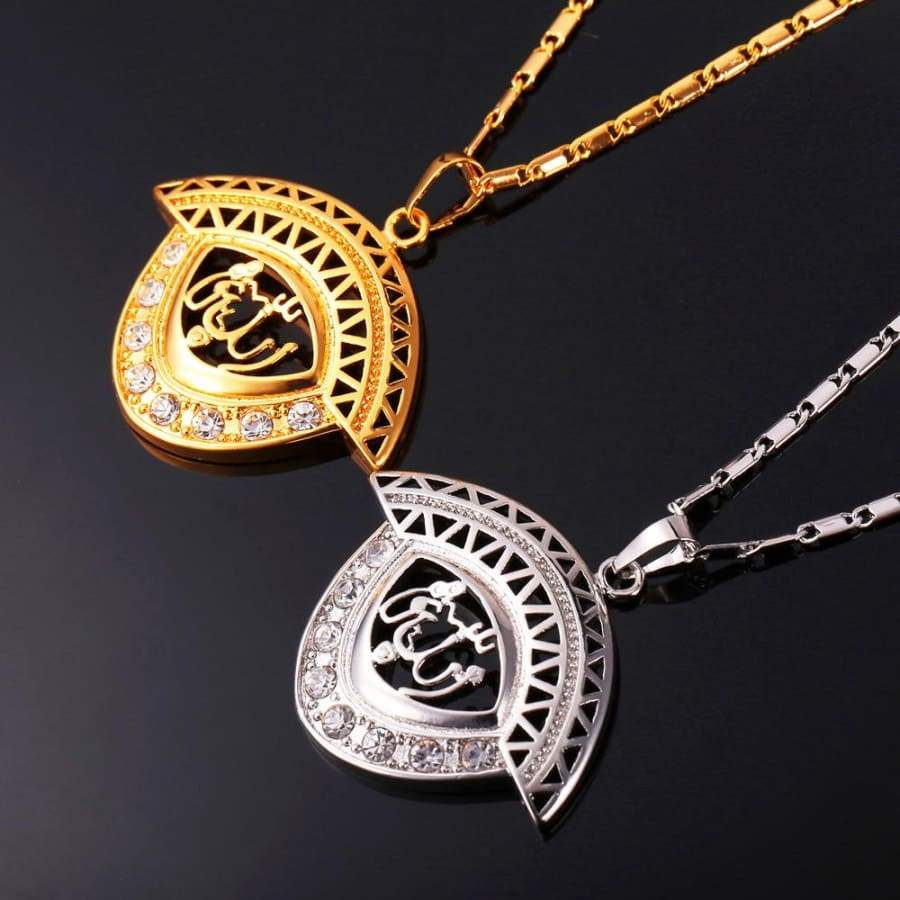 Allah Pendant Men/Women Islamic Gold/Silver Color Rhinestone Crystal Jewellery IS1 Almas Collections Necklace