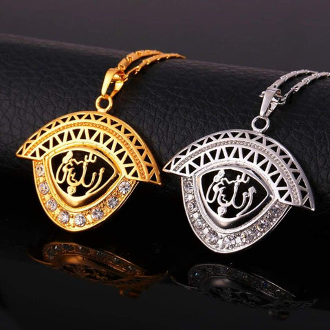 Image of Allah Pendant Men/Women Islamic Gold/Silver Color Rhinestone Crystal Jewellery IS1 Almas Collections Necklace