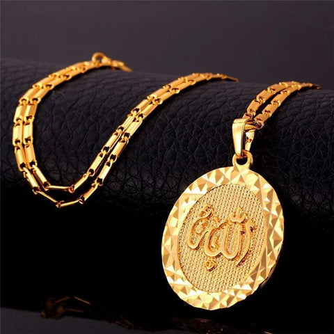 Allah Pendants Men & Women Gold/Silver Colour Round Necklaces IS1 Almas Collections  Allah Pendants Men & Women Gold/Silver Colour Round Necklaces