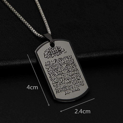 Arabic Printed Pendant Necklace Stainless Steel With Rope Chain Men Women IS1 - Almas Collections