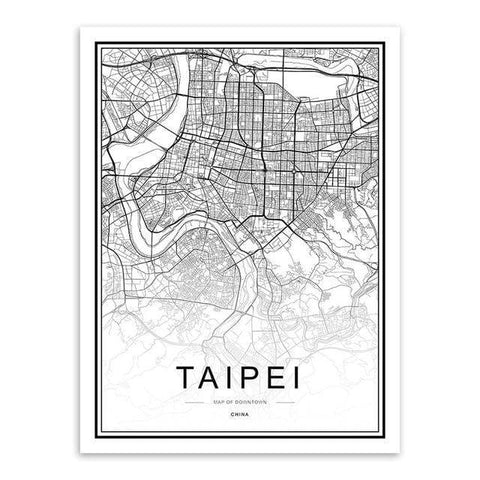 Best Black and White World City Maps posters 2019 HM1 VAL1 Almas Collections  map poster