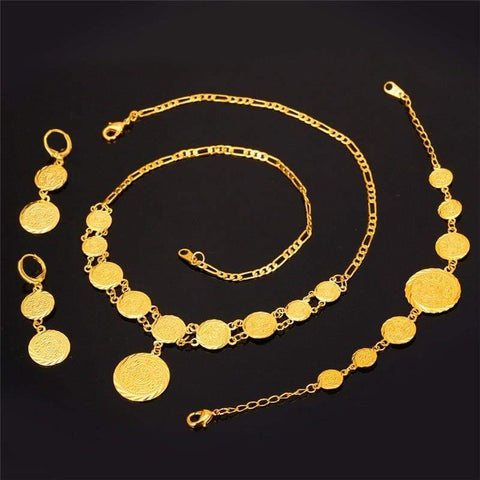Image of Coin Necklace Bracelet Earrings Gold Colour Vintage set IS1 VAL1 Almas Collections set