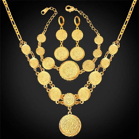 Image of Coin Necklace Bracelet Earrings Gold Colour Vintage set IS1 VAL1 - Almas Collections