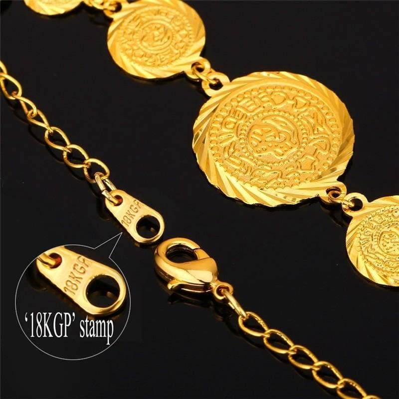 Coin Necklace Bracelet Earrings Gold Colour Vintage set IS1 VAL1 - Almas Collections