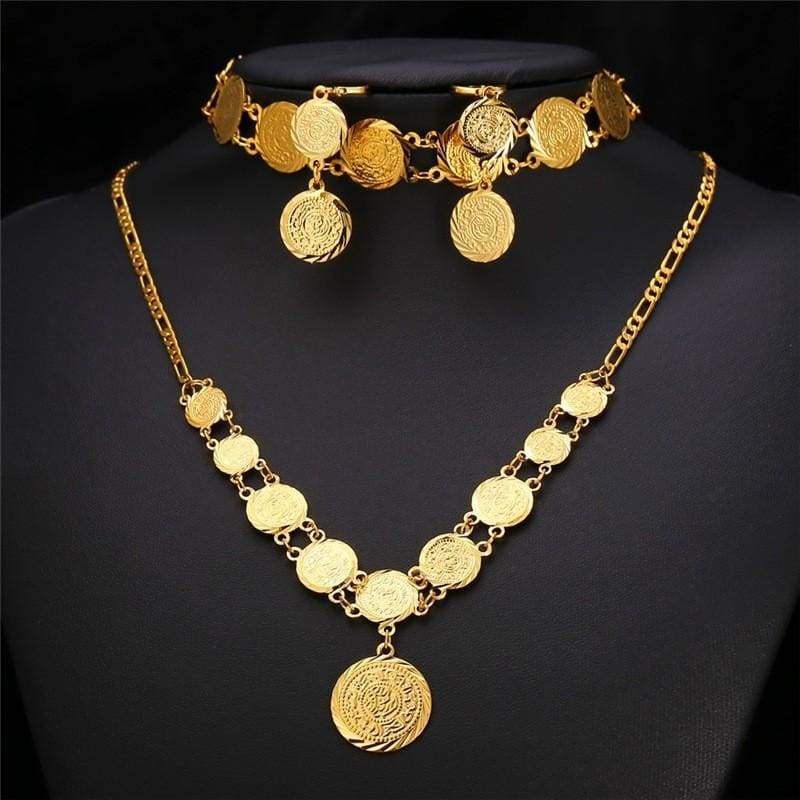 Coin Necklace Bracelet Earrings Gold Colour Vintage set IS1 VAL1 Almas Collections set
