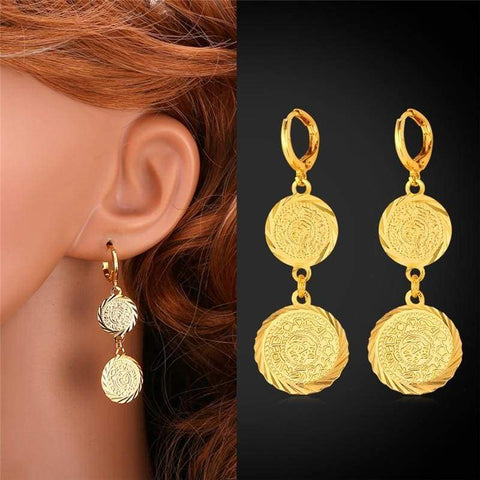 Coin Necklace Bracelet Earrings Gold Colour Vintage set IS1 VAL1 | Almas Collections |